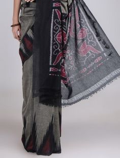 Grey-Black Cotton Handwoven Ikat Saree
