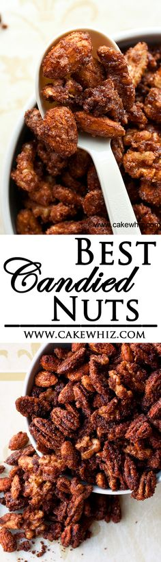 Best CANDIED NUTS ever with 3 flavor variations: mocha, coconut and a really spicy version! Great for gift-giving too. Nut Recipes, Candy Recipes, Holiday Recipes, Snack Recipes, Cooking Recipes, Christmas Recipes, Sweet Recipes, Cooking Tips, Dessert Recipes
