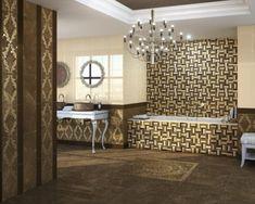 Kronleuchter als Highlight im Luxus Badezimmer Bath Shower Combination, Elegante Designs, Chandelier, Ceiling Lights, Mirror, Lighting, Furniture, Home Decor, Luxury Bathrooms