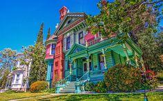Herunterladen hintergrundbild heritage square museum, los angeles, altes haus, kalifornien, usa