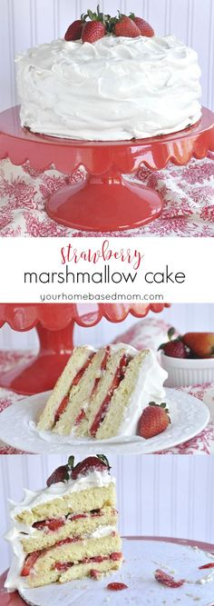 Strawberry Marshmallow Cake - light, fluffy and yummy!  Perfect for Valentine's Day party dessert tables or anytime you want something yummy and pretty.