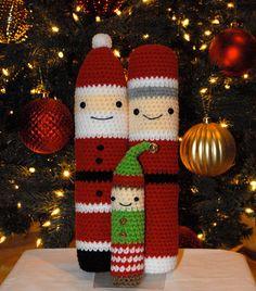 Crochet Patterns: Amigurumi Christmas - Santa, Mrs Claus, and Elf