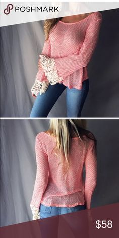 ✨Just in!✨Boho Crochet Bell Sleeve Knit Top Beautiful Boho Crocheted Bell Sleeve Knit Sweater TopLightweight knit in beautiful salmon pink with creamSize Small (2-6)Wear over a lacy cami or a sexy bralette I consider KIND offers but on brand new boutique items, bundle for 15% off 2 or ask for a custom bundle when buying 3+ Sweaters Crew & Scoop Necks