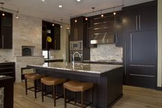 Contemporary Kitchen Photos Fireplace Design, Pictures, Remodel, Decor and Ideas - page 8