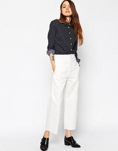 ASOS High Waist Denim Wide Leg Pants in Off White