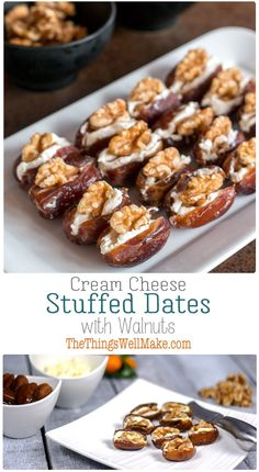 Quick, simple, yet elegant, these cream cheese stuffed dates with walnuts are highly customizable and are the perfect addition to your holiday appetizer lineup. appetizers Cream Cheese Stuffed Dates with Walnuts Quick Appetizers, Cheese Appetizers, Christmas Appetizers, Appetizers For Party, Appetizer Recipes, Gourmet Appetizers, Spanish Appetizers, Christmas Desserts, Paleo Dessert