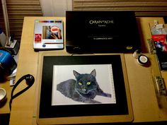 Black Cat in Coloured Pencil George the Cat in Coloured Pencil By Ellie Burdett Well here we go – happy birthday Ellie – with a massive smile on my face because my wonderful husband has… Caran D'ache, Colored Pencils, Happy Birthday, Cats, Artist, Black, Colouring Pencils, Happy Brithday, Gatos