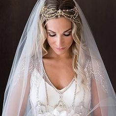 Elegant bride wearing our #MariaElenaHeadpieces Antique Gold Headpiece