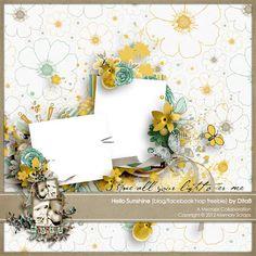 Hello Sunshine! template and quick page freebie from DitaB #scrapbook #digiscrap #scrapbooking #digifree #scrap