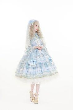 A beautiful blue lolita dress with a darling headdress