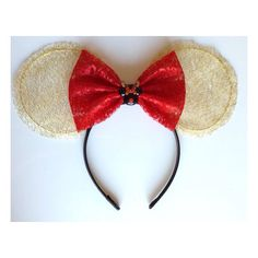 Gold Lace Xmas Minnie Mouse Ears