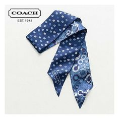 'BNWT COACH Scribble Pop C Ponytail Scarf in Navy Blue' is going up for auction at  2pm Tue, Jan 14 with a starting bid of $15.