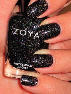 Zoya Storm nail polish, black holo.