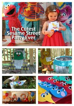 The cutest Sesame Street Party - fun games, cute food ideas, colorful decorations, handmade visors and more. #sesamestreet #kidbirthday #party #birthdayparty #partyinspiration
