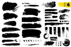 Set of black paint, ink brush strokes, brushes, lines. Dirty artistic design ele , #sponsored, #ink, #brush, #strokes, #Set #AD Distressed Texture, Simple Backgrounds, Paint Brushes, Brush Strokes, Design Elements, Photography Ideas, Graffiti, Ink, Drawings