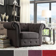 Add graceful seating to you home with this Chesterfield chair by Tribecca Home. Showcasing a tufted back and rolled arms in linen, this elegant padded seat chair can provide plenty of support and comfort in style.