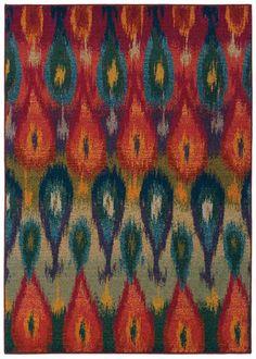 Bold, rich colors in Ikat design leave us longing for spring gardens   Oriental Weavers Sphinx Kaleidoscope 2061Z Rug