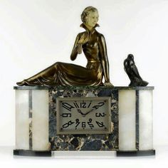 Marble & Spelter Mantel Clock by Enrique Molins Balleste from 1920.     ⏳