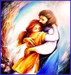 Jesus hugging girl with comfort, touching prophetic art.