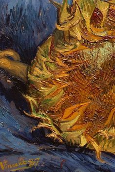 "Sunflowers - detail ~ artist Vincent Van Gogh, c.1887; oil on canvas, 17"" x 24"".  Metropolitan Museum of Art, New York  #art #painting #post_impressionism"