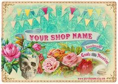Punk Victorian Skull Circus Business Cards  Etsy Product Tags -  Rockabilly Tattoo Carnival - Custom Personalized - Digital Download