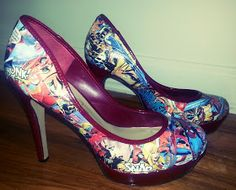 Makeup Majesty: Comic Book Decoupage Shoes DIY I am SO doing this with a Sandman comic. It'll hurt me to cut up a comic, but will be worth it :)