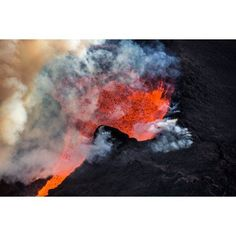 Volcano Eruption at the Holuhraun Fissure near the Bardarbunga Volcano Iceland Canvas Art - Panoramic Images (36 x 12)