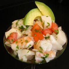 Real Mexican Ceviche! I would make this basic recipe, but I'd add baby octopus and shrimp. >.< mmmm!