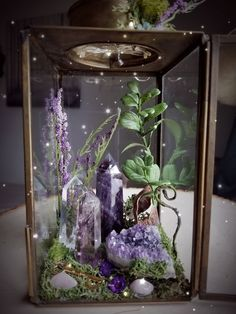 Healing Crystal Garden Terrarium A new crystal garden has just hit the shop! Wiccan Decor, Wiccan Art, Pagan Altar, Crystal Aesthetic, Crystal Garden, Crystal Terrarium Diy, Water Terrarium, Fairy Terrarium, Terrarium Plants