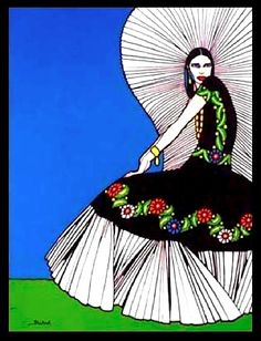 """Tehuana"" - Ernesto ""El Chango,"" García Cabral - 1890-1968 - Mexican draftsman, painter, tango dancer, Greco-Roman wrestler, silent film and early television pioneer, cartoonist, illustrator, and muralist."