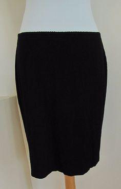 J. Jill Wearever Black Skirt M Slim Straight Pencil stretch Knit Knee Length #JJill #StretchKnit