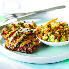 Grilled Beer & Honey Chicken with Barley & Lentil Salad