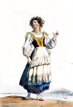 Italian Girl in traditional costume during the Century. Italian Outfits, Italian Fashion, Italian Clothing, Peasant Clothing, Dress Up Storage, Antique Illustration, Thinking Day, Folk Costume, Dance Costume