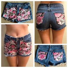Custom Glitter Flower Print Short Jean