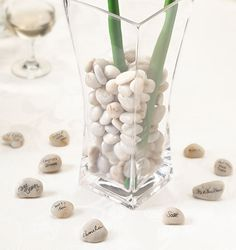 Guest Signing Stones with Vase.  Perfect for my reception tables.