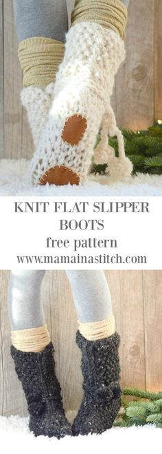 knitting slippers Mountain Chalet Boot Slipper Knitting Pattern (Knit Flat) via MamaInAStitch These beginner friendly, knit slipper boots can be made quickly! Crochet Booties Pattern, Knit Slippers Free Pattern, Knitted Slippers, Crochet Slipper Boots, Knit Boots, Slipper Socks, Easy Knitting Patterns, Loom Knitting, Knitting Socks