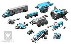 A random collection of Microspace Creations recolored in MAERSK shipping Colors. Lego Nxt, Lego Custom Minifigures, Star Wars Spaceships, Starship Concept, Micro Lego, Space Engineers, Lego Boards, Lego Ship, Lego Spaceship