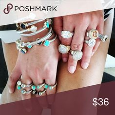 Dainty jewelry, you need this look. A classic of all classics, rhodium, natural authentic stones and cubic zirconias, silver plated all of them, wich means that will never tarnish.  Each piece have it's own listing  Prices vary depending on the stone. Jewelry Bracelets