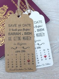 Save The Date For Wedding Abroad Invitation with Envelope Personalised