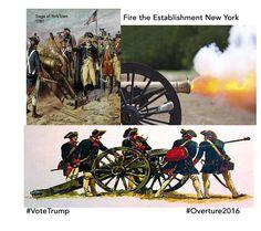 Fire The Establishment Oveture2016 https://www.youtube.com/watch?v=VbxgYlcNxE8  Trump set to Win Original USA Colonies VoteTrump https://www.donaldjtrump.com/