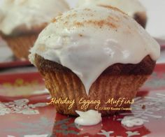 Holiday Eggnog Muffins.  These look amazing!  #Christmas #eggnog #recipe