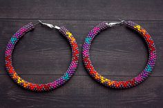 Purple+Native+American+Beaded+Hoop+Earrings+by+eleumne+on+Etsy,+$45.00