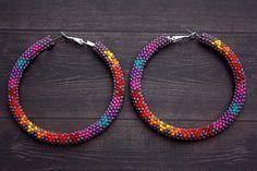 Purple+Native+American+Beaded+Hoop+Earrings+by+eleumne+on+Etsy,+$45.00