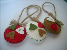Felted Christmas ornaments Country colors Set of 3 Creme Red coffee classic
