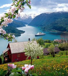 Ulvik, Hardangerfjord,Norway. Brakanes Hotel down by the fjord (right side of picture)