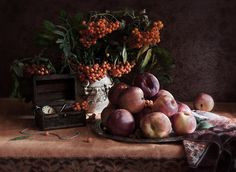 Nectarines and ashberry by Paul Drevnytskyi