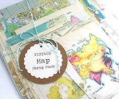 30 pc VINTAGE Map Scrap Pack Vintage Atlas by thejellybeanstudio