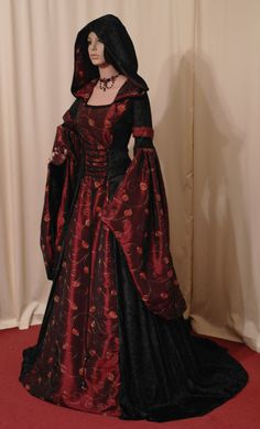 medieval renaissance VAMPIRE HALLOWEEN wedding handfasting dress custom made via Etsy The fabric is s bonus,its exquisite taffeta floral brocade burgundy and it's a distinct medieval dress. Renaissance Costume, Renaissance Dresses, Medieval Costume, Medieval Fashion, Medieval Clothing, Gothic Fashion, Gypsy Clothing, Gothic Clothing, Steampunk Fashion