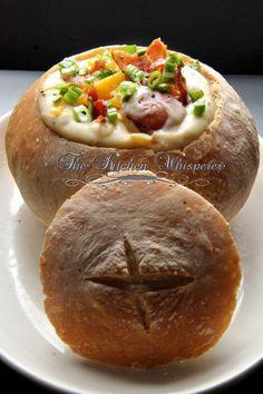 The Kitchen Whisperer Thick 'n Creamy Loaded Potato Soup in a Sourdough Bread Bowl