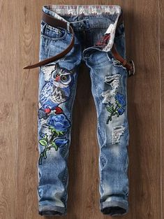 GET $50 NOW | Join Zaful: Get YOUR $50 NOW!https://m.zaful.com/ripped-floral-and-owl-embroidered-straight-leg-jeans-p_486033.html?seid=8187826zf486033